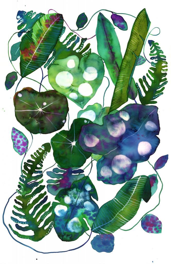 blue, purple, green leaf painting