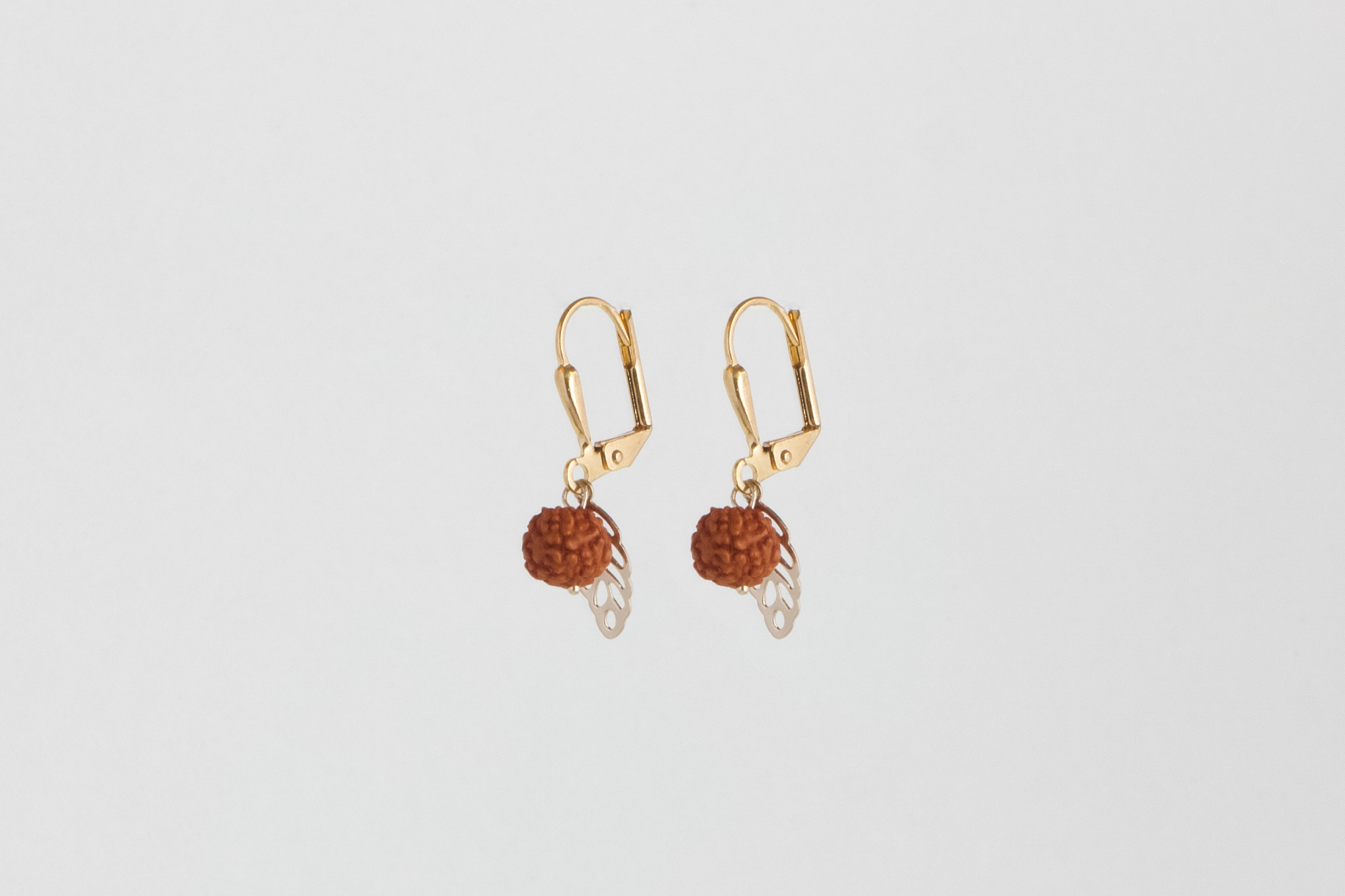 Julia Otilia-Rudraksha seed earrings, Gold plated,19.95 Euro